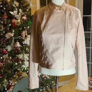 Faux leather pink moto jacket